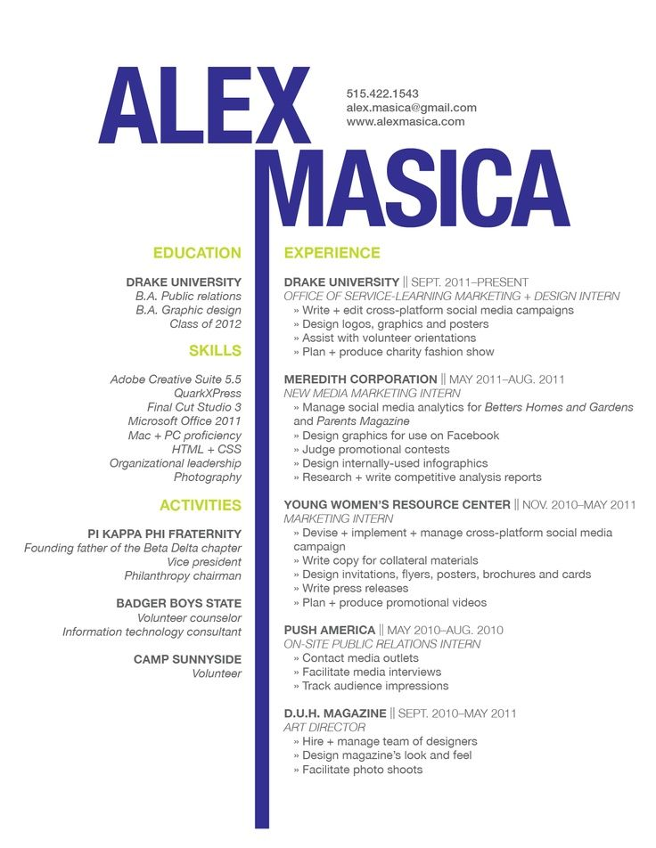Resumes Professional Pinterest Graphic design resume, Design - graphic designers resume