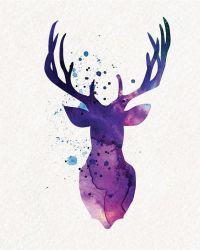 Purple Deer Watercolor Painting Wall Art von ...