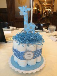 mini diaper cake centerpieces- baby boy baby shower ...