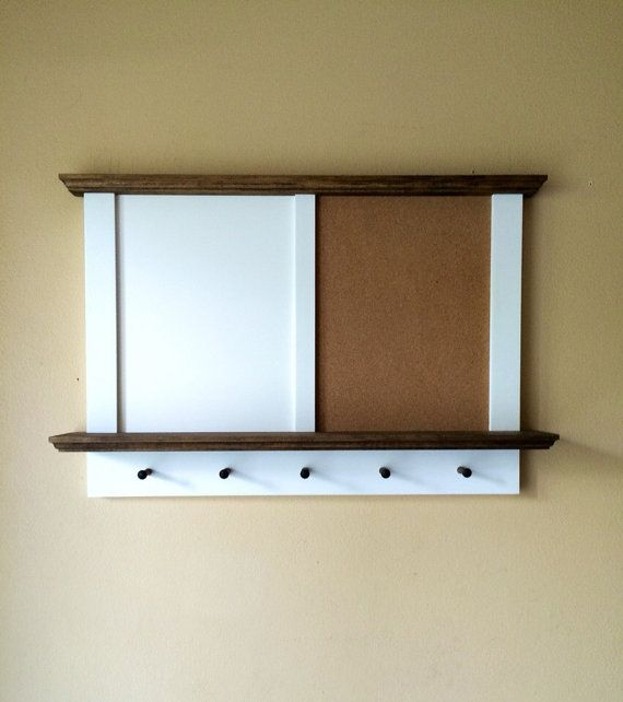 Framed Corkboard Whiteboard Combo with Shelf and Key Rack