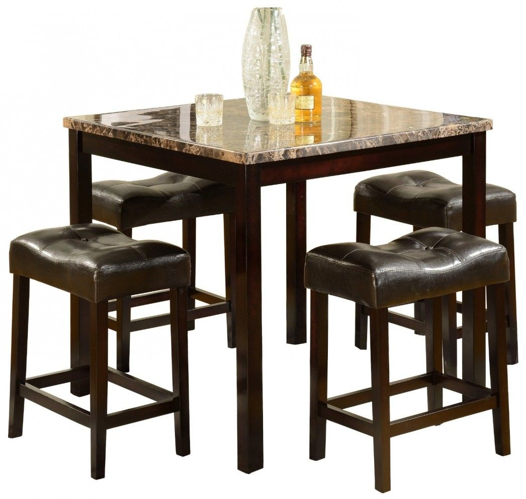 small square kitchen table Heigh Top Table 5 Piece Set Bar Pub Counter Height Brown Stool Kitchen Square