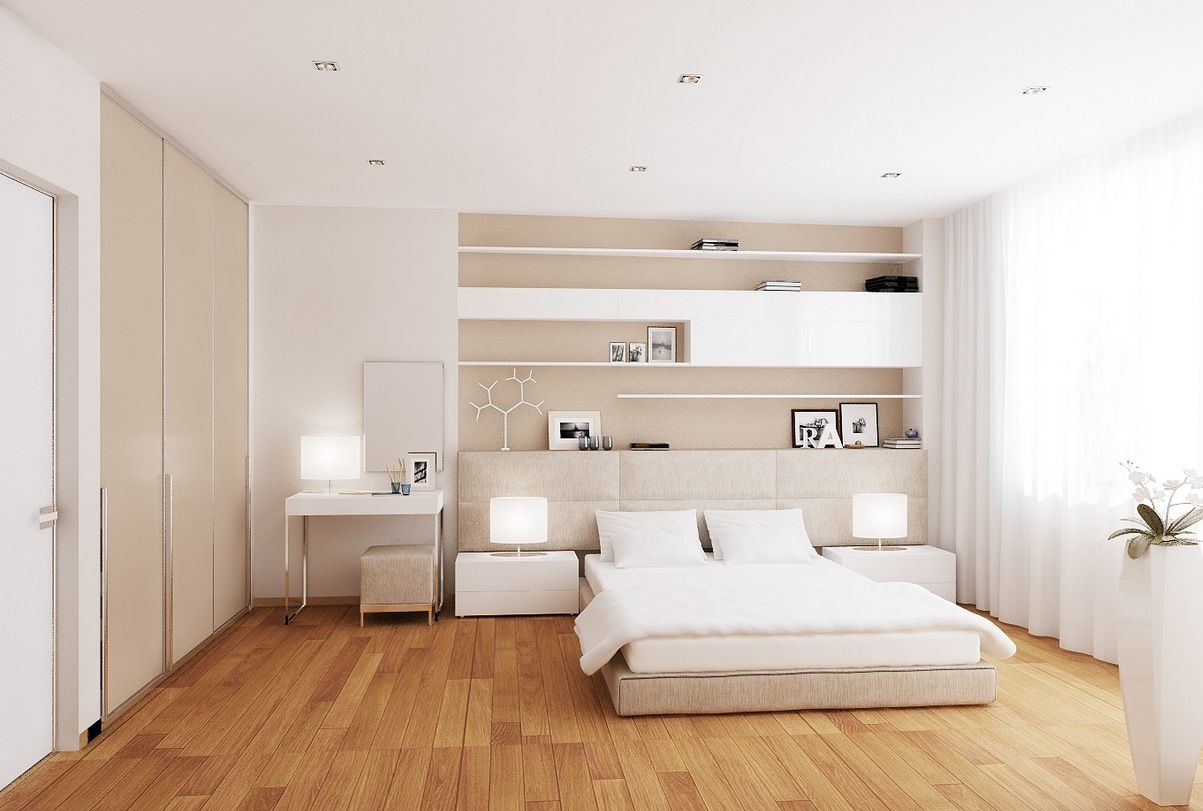 White cream bedroom a low level bed allows the room scheme to breathe without obstruction