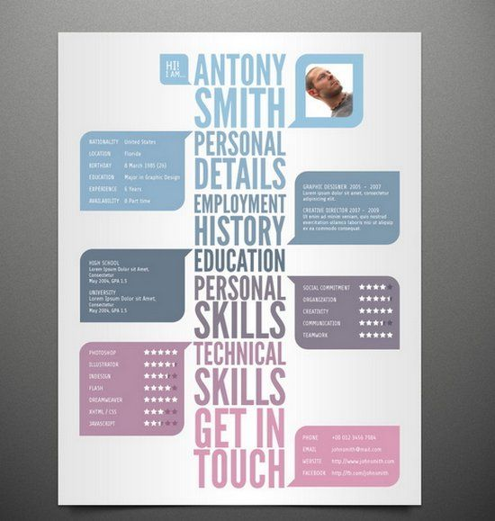5 free resume template Graphic Design Pinterest Free - artistic resume templates