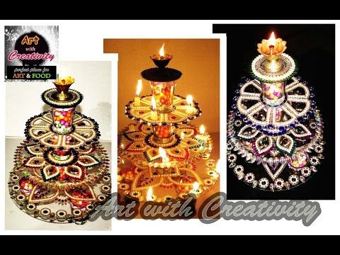Innovative rangoli art on cd diwali decoration idea cd