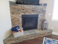 California Gold Ledger Stone accent wall and fireplace ...