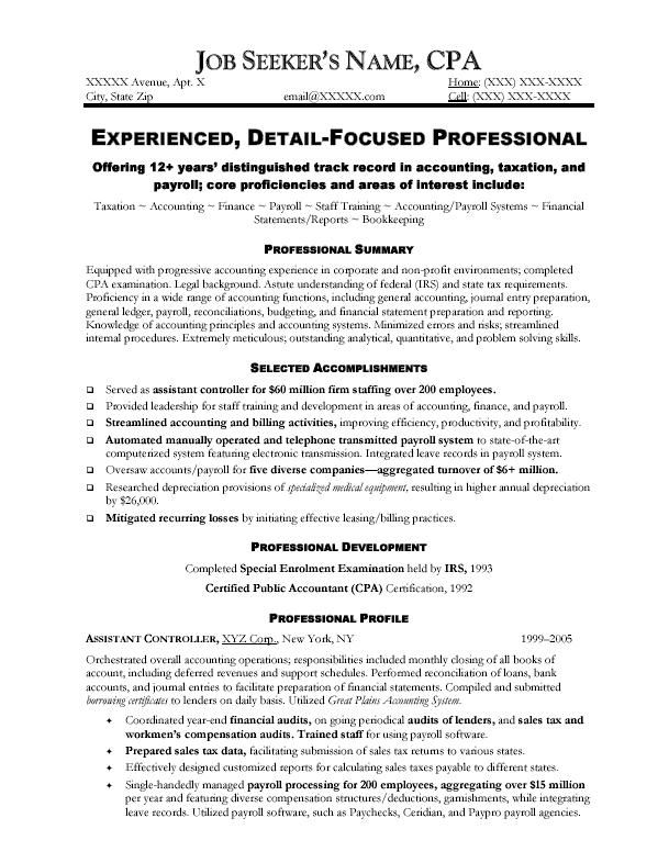 Professional Accountant Resume Example - http\/\/topresumeinfo - accountant resume format