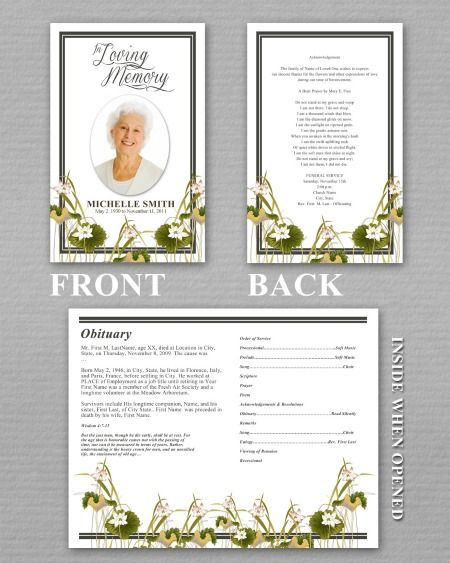 elegant funeral programs - Google Search Memory Crafted - program for a funeral