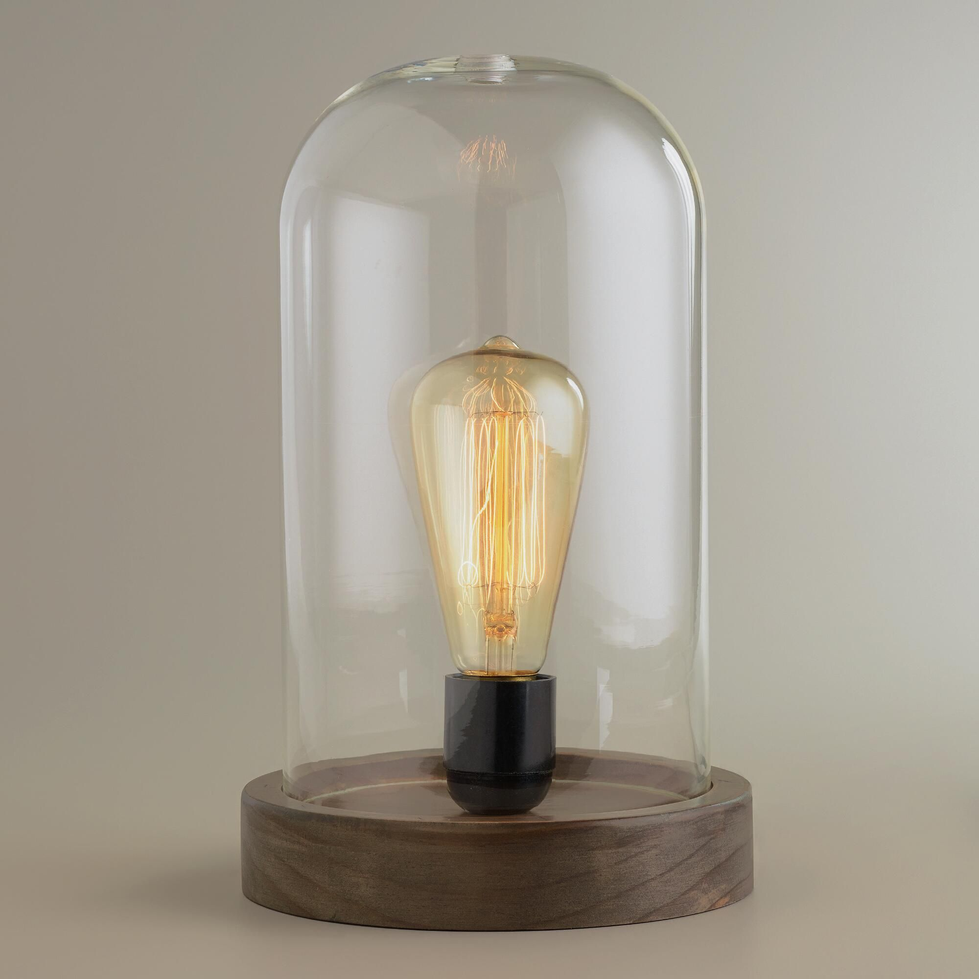 Edison Lamp Glass Edison Glass Cloche Table Lamp Bulbs Industrial And Glass
