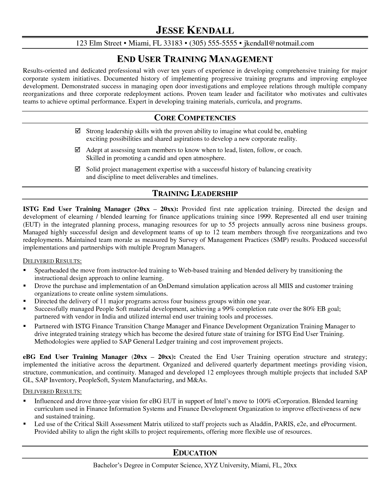 training manager cv example
