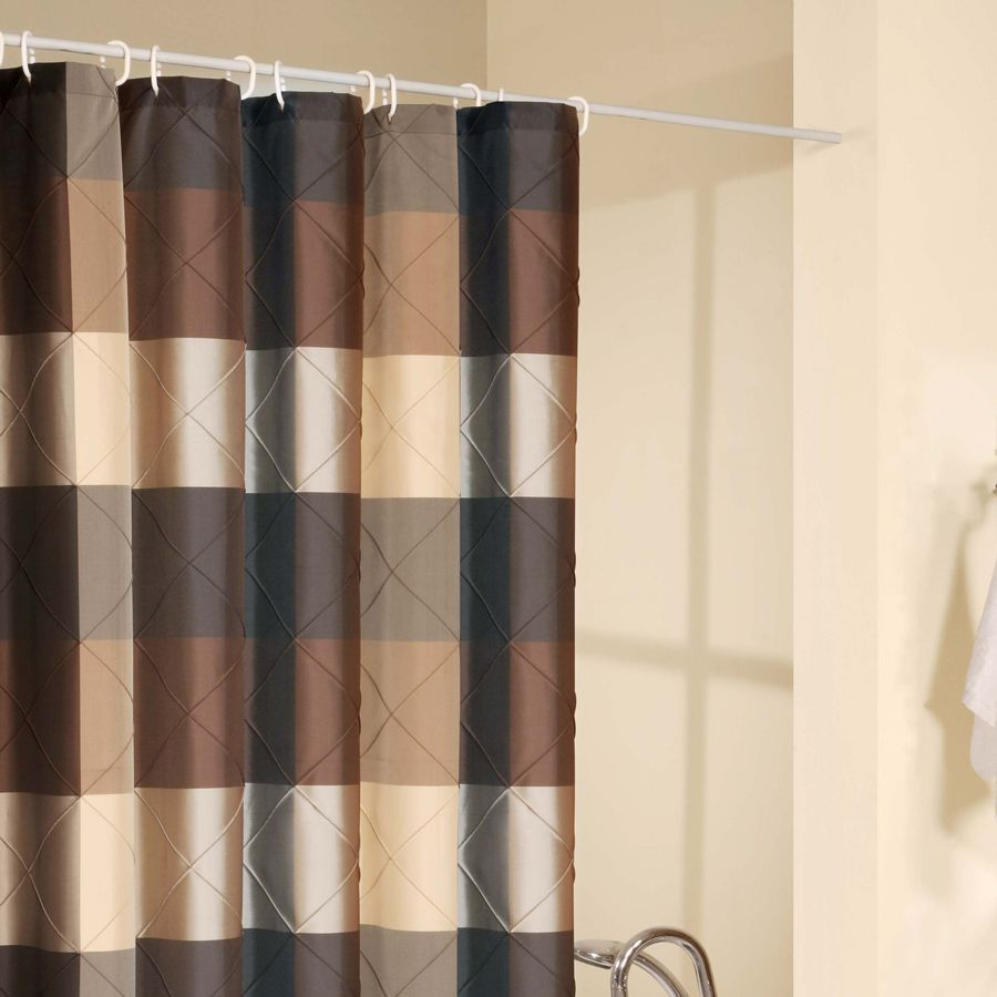 Brown fabric shower curtains
