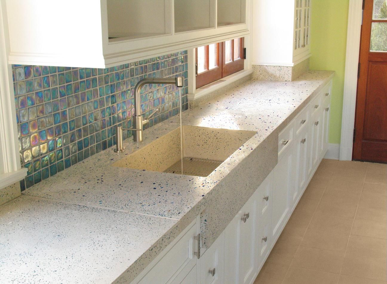 kitchen tile kitchen countertops Beautiful kitchen with concrete counters and sink and abalone esque tile back splash