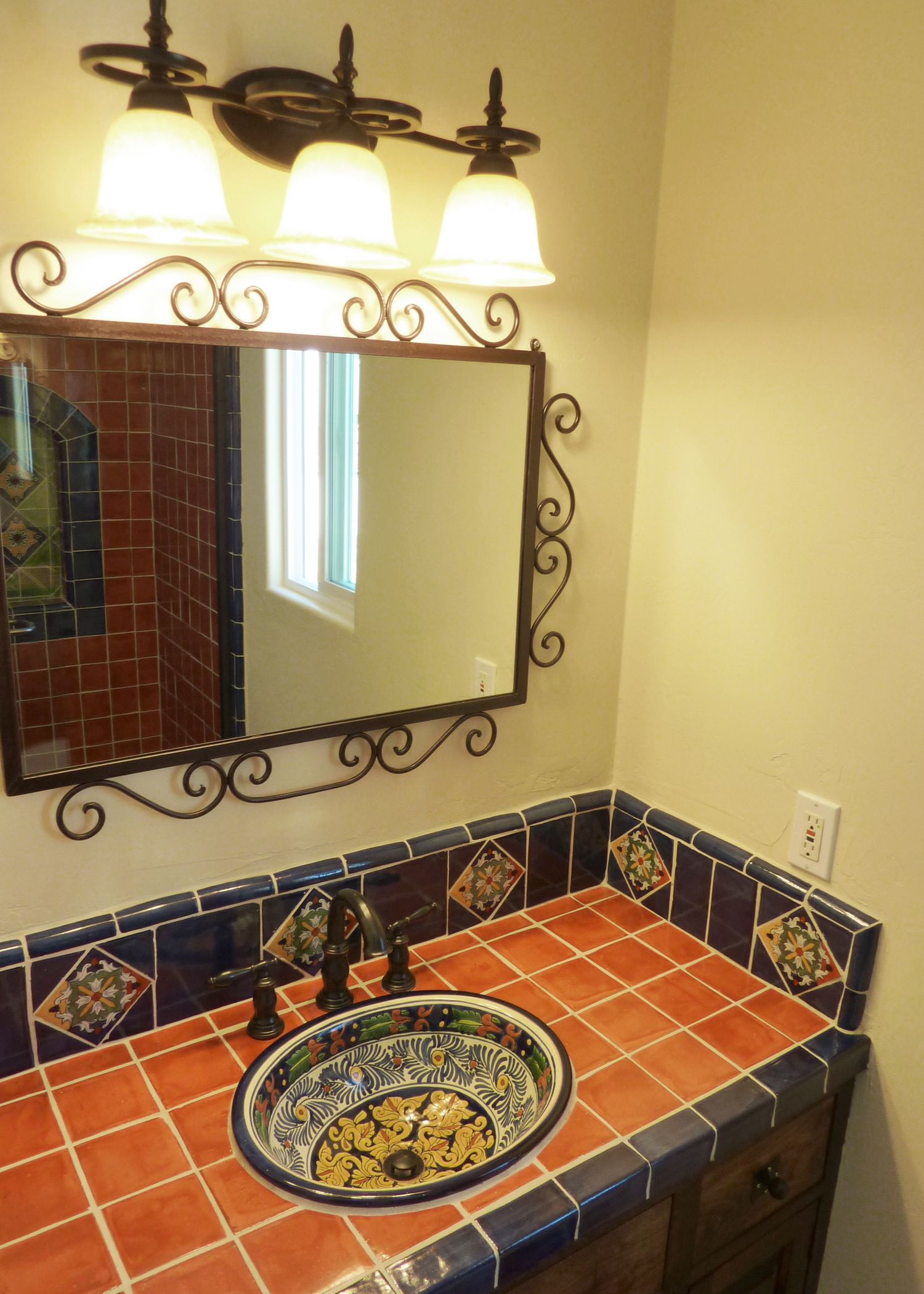 Spanish Tile Countertops Bathroom Vanity Using Mexican Tiles By Kristiblackdesigns