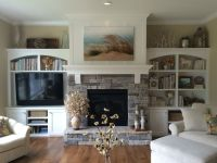 Gas fireplace with stacked stone, pieced hearth, corbels ...