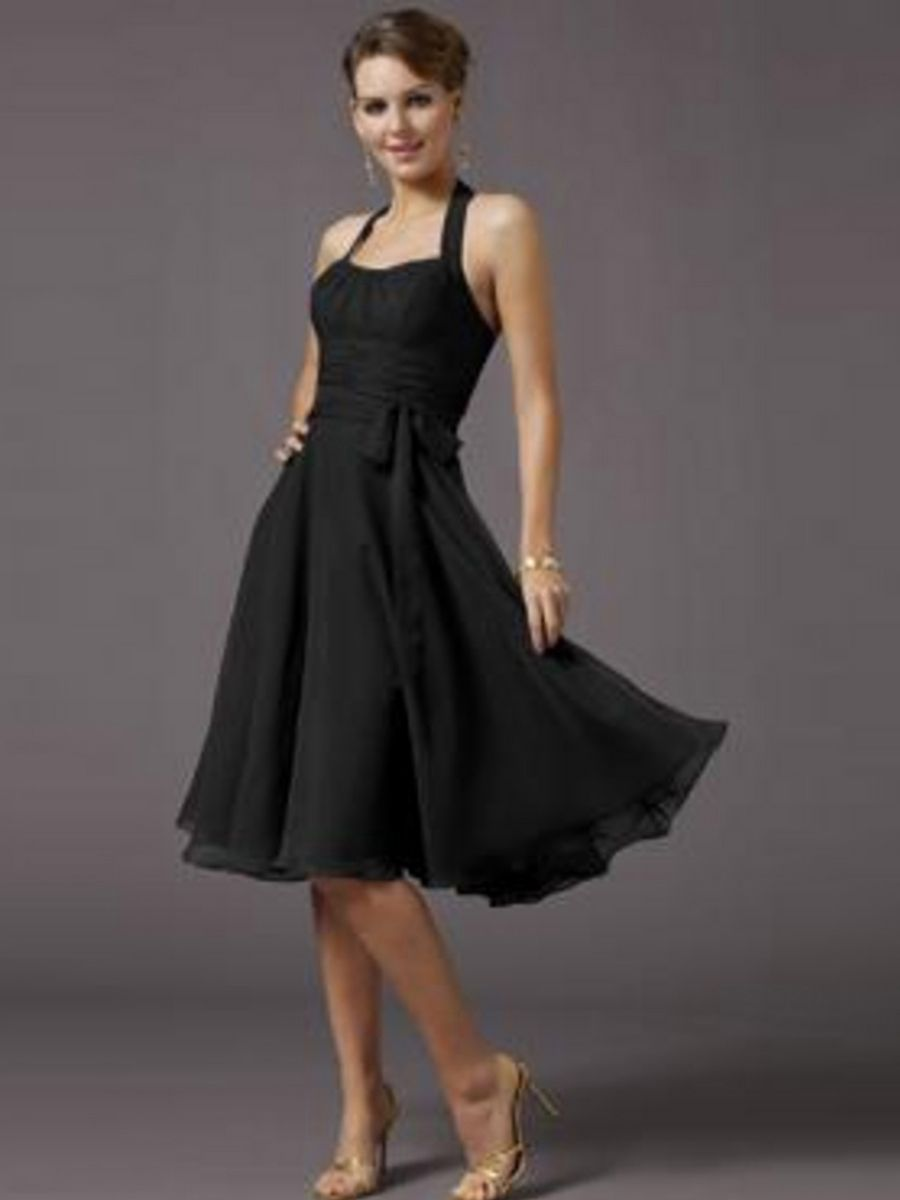Sophisticated black chiffon halter sleeveless knee length wedding party dress