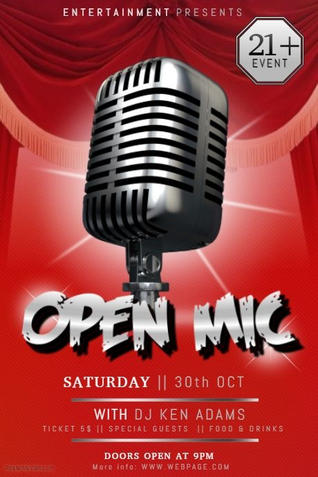 open mic stand up comedy karaoke talent show poster PosterMyWall - comedy show flyer template