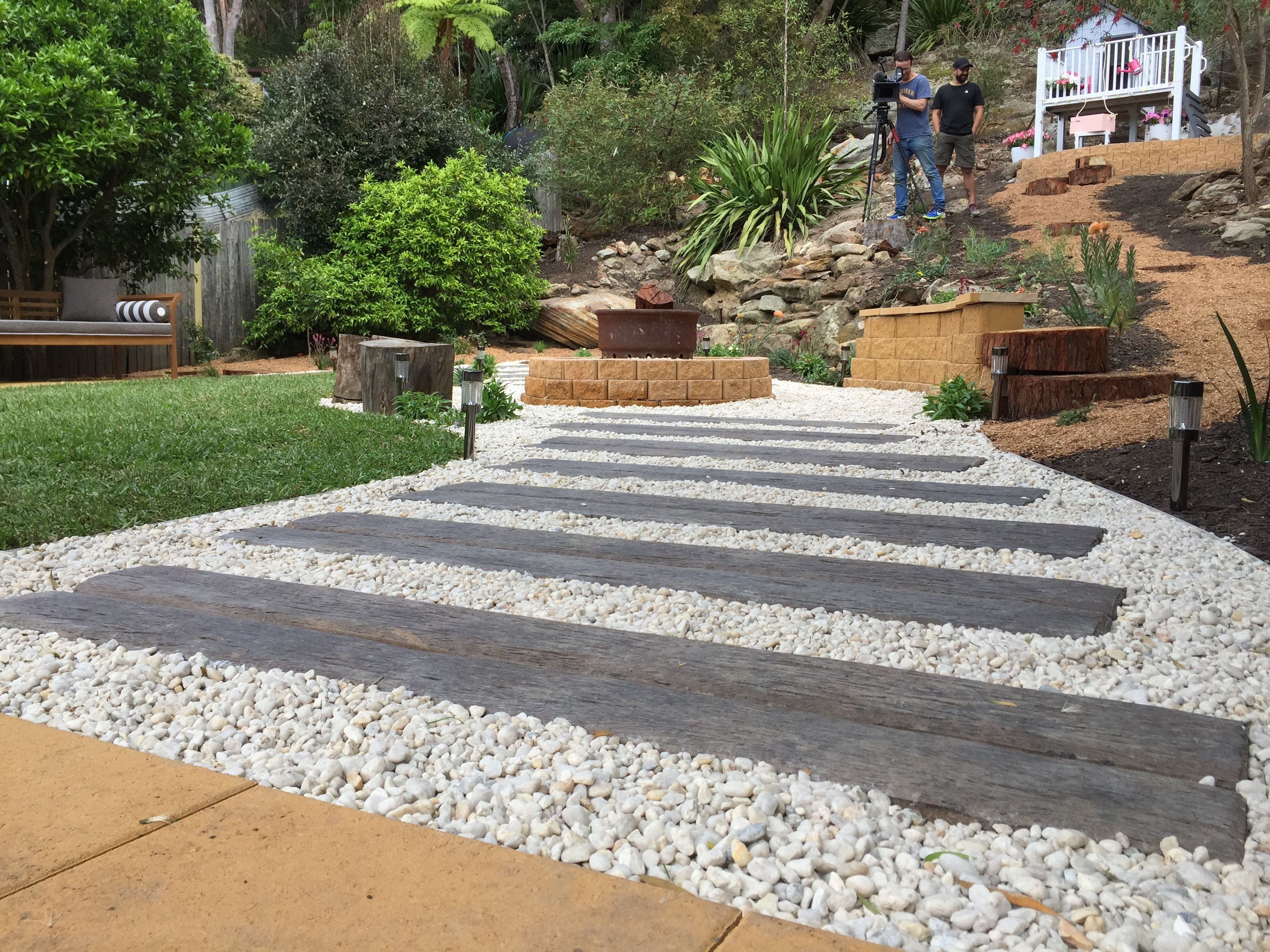 Stack Stone Bunnings Ridgi Gumtree Concrete Sleepers Installed In A Pathway As