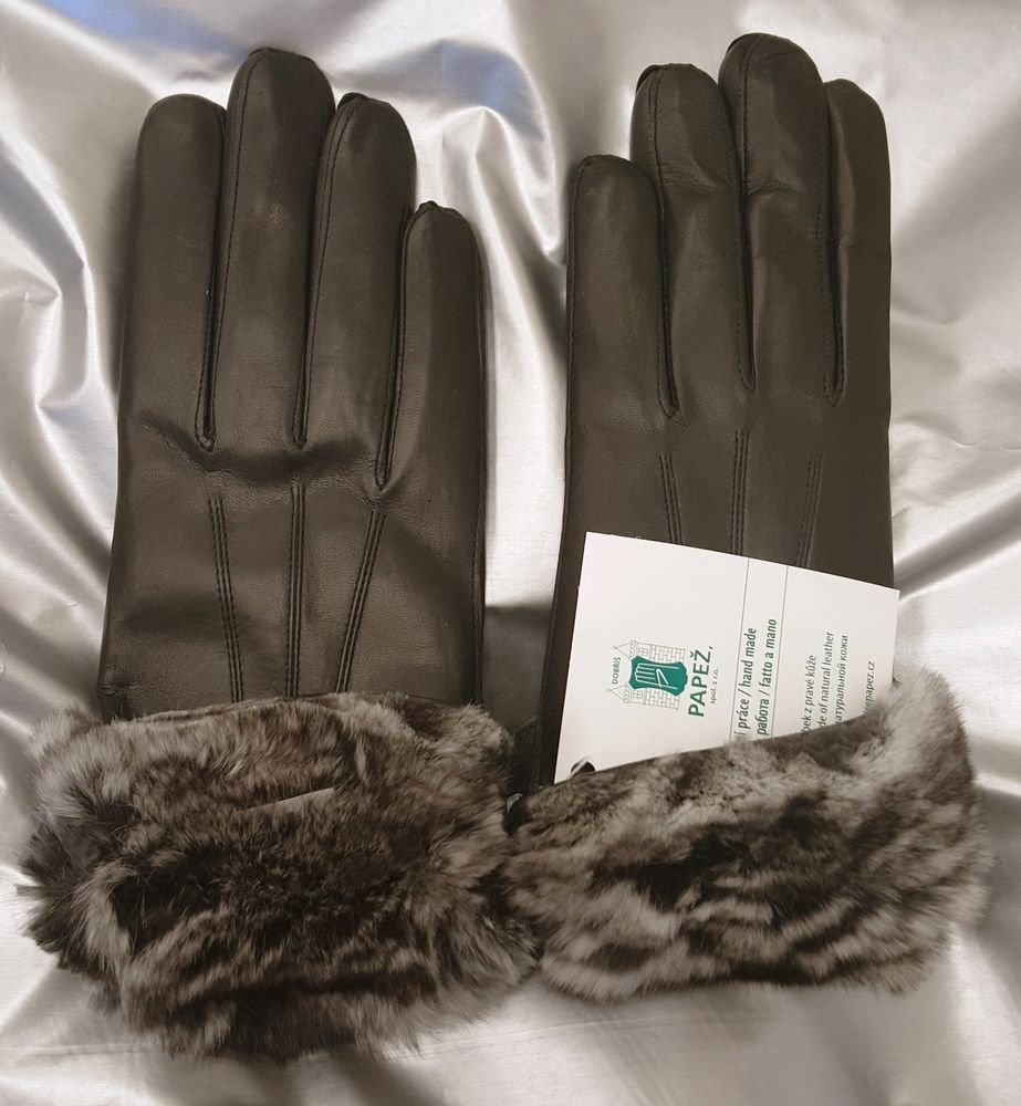 Details about chinchilla fur lined ladies leather gloves women s sizes s xl brand new