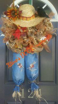 Scarecrow Wreath, Fall Scarecrow Door Decor, Thanksgiving ...