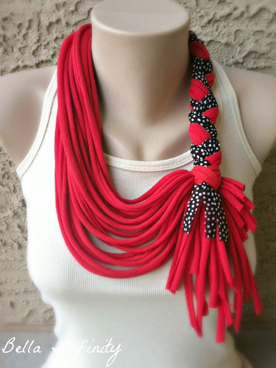 Diy Tshirt Scarf Bella Infinity Braided Scarf Jersey Fabric Red Upcycled
