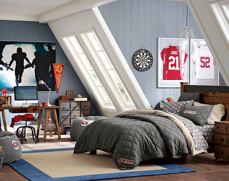 Classic Car Wallpaper For Bedrooms Teenage Guys Bedroom Ideas Football Inspired Pbteen