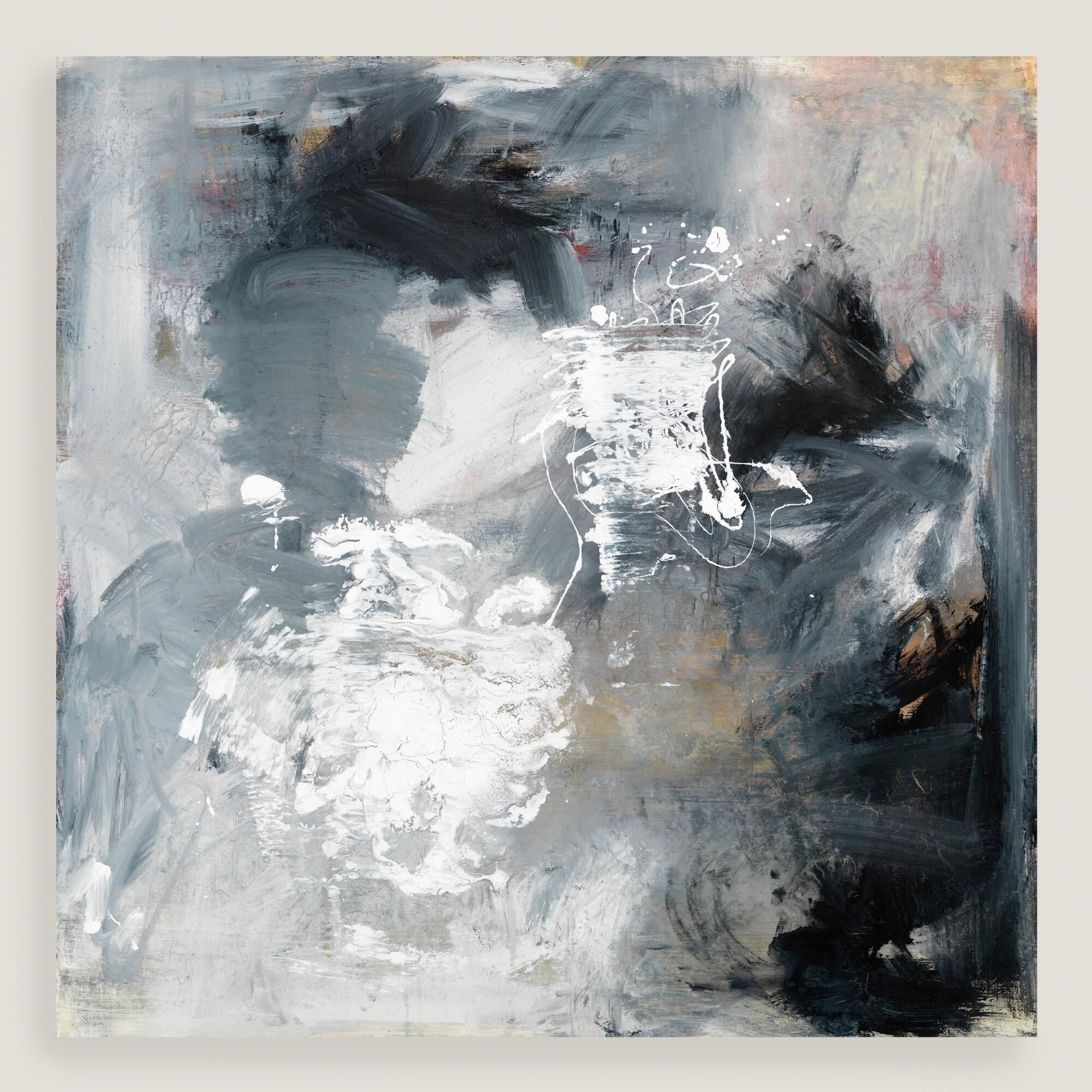 Black White And Gray Paintings Black White Gray And Amber Brush Strokes Comprise Elinor