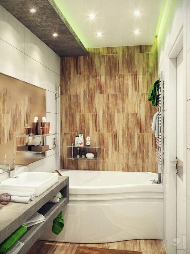 modernes-kleines-bad-badewanne-wand-boden-fliesen-holzoptik-gruene - badezimmer fliesen holzoptik grun