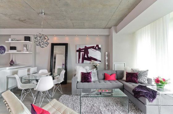 Soft Grey Corner Sofa in Modern Living room Living room - grey sofa living room ideas