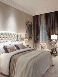 Gray Bedroom with beige bedding beige carpet beige ...