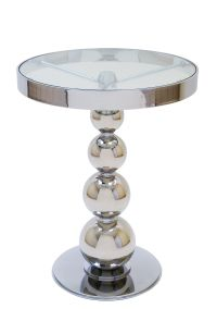 San Juan Round Glass Top Side Table with Polished Chrome ...