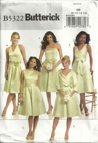 Butterick 5322 Bridesmaid Wedding Dress & Sash in 5 Styles ...