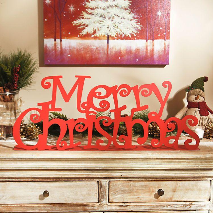 Glittered Red Merry Christmas Tabletop Sign Kirklands - kirklands christmas decor