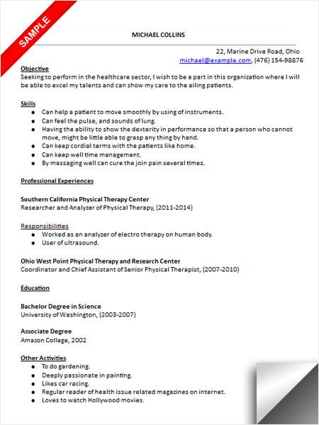 resume examples for speech therapists