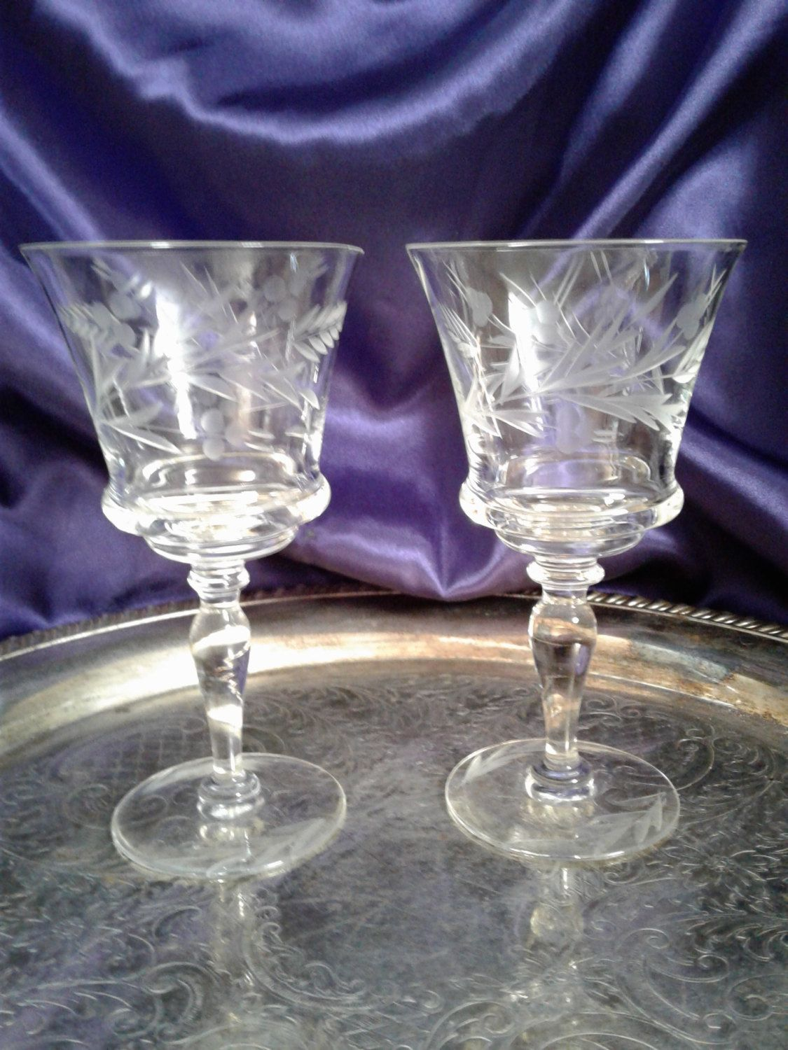 Crystal Stemware Wine Glasses Fern Etched Wine Glasses Unique Hand Blown Crystal
