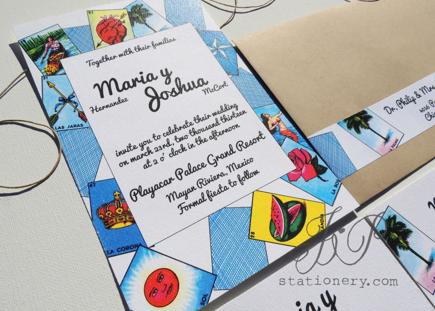 mexican wedding invitations Wedding Invitation Mexican Loteria by JPstationery on Etsy