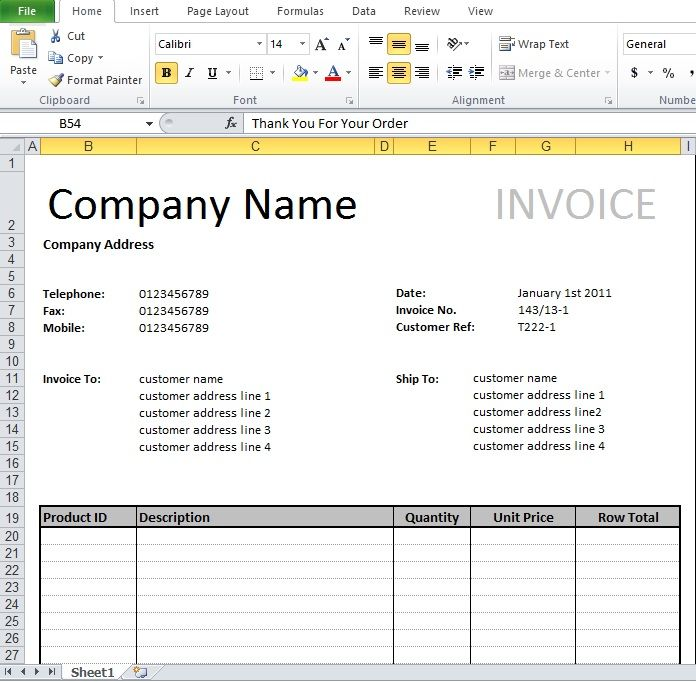 Tally Invoice Format Excel Download Invoice Templates - create an invoice form