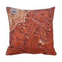Western Tooled Leather Look Throw Pillow | cojines ...