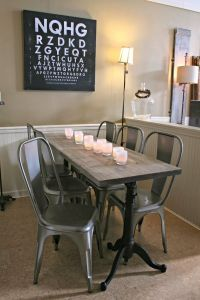 Weathered Wood Dining Table, Restoration Hardware, Metal ...