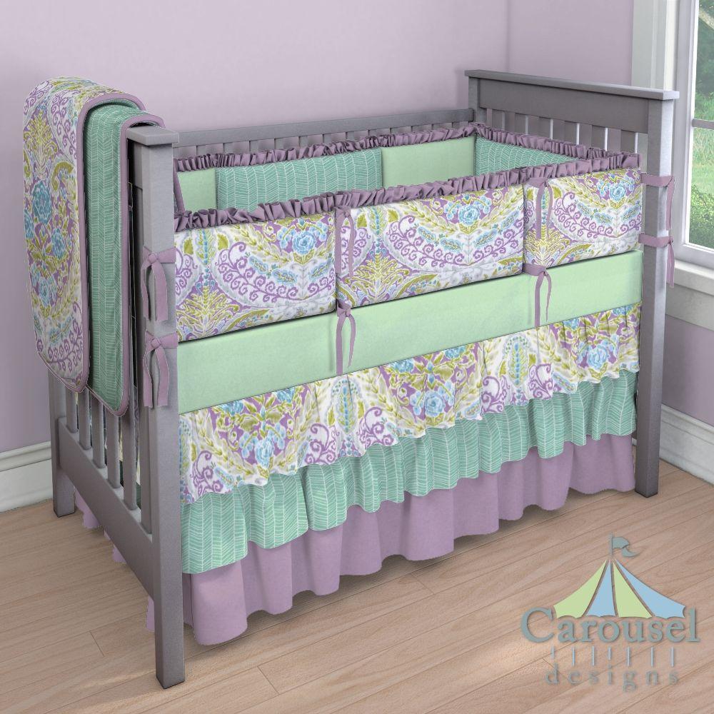 Crib Bedding In Mint Herringbone Aqua And Purple Jasmine