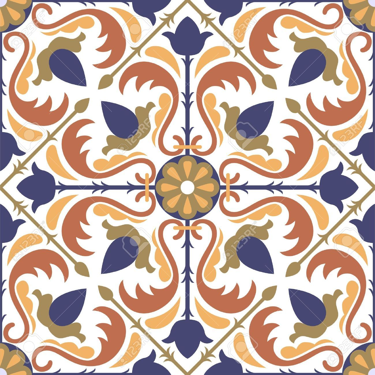 Illustration of colorful arabic style tiles seamless pattern vector art clipart and stock vectors