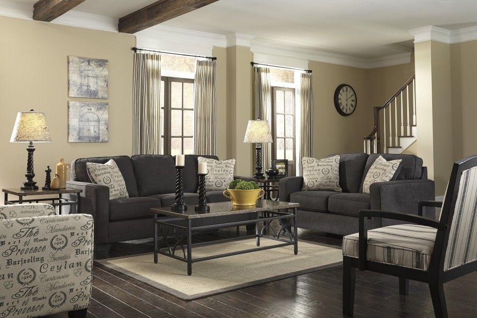 Furniture, Awesome Modern Charcoal Sofa Living Set On White - paint colors for living room walls with dark furniture