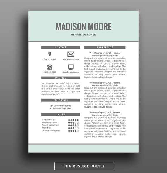 Resume Template 2 Page Resume Design Free Cover Letter DIY - 2 page resume template