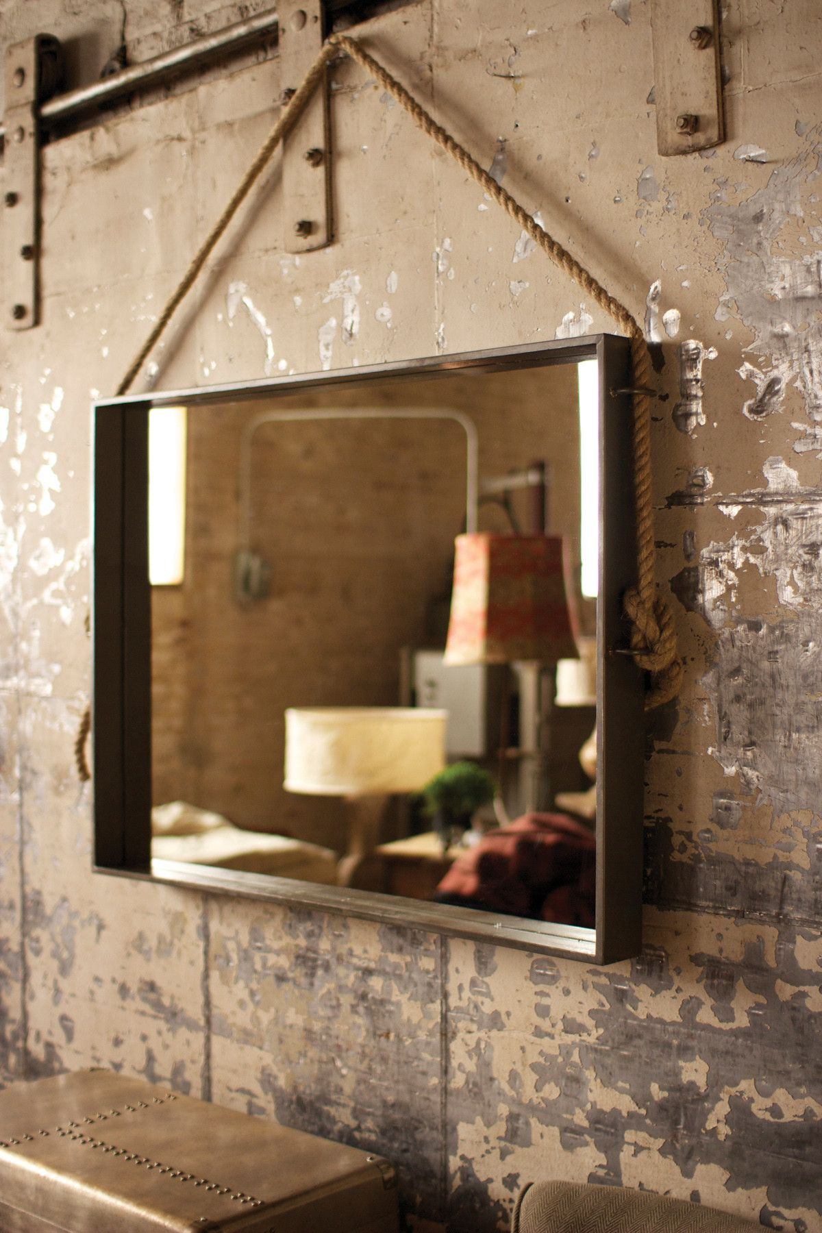 Industrial Style Bathroom Mirror Large Rectangle Metal Mirror With Rope Hanger Mirrors