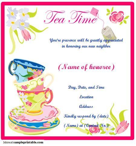 Printable Tea Party Invitation Taryn birthday ideas Pinterest - tea party invitation template