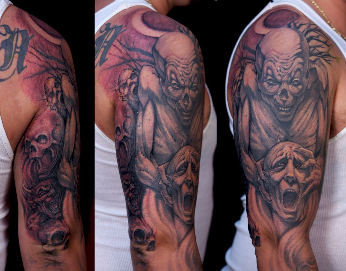 Pictures of scary tattoos horror tattoo demon face