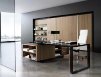 Classy working room design with modern office desk and ...