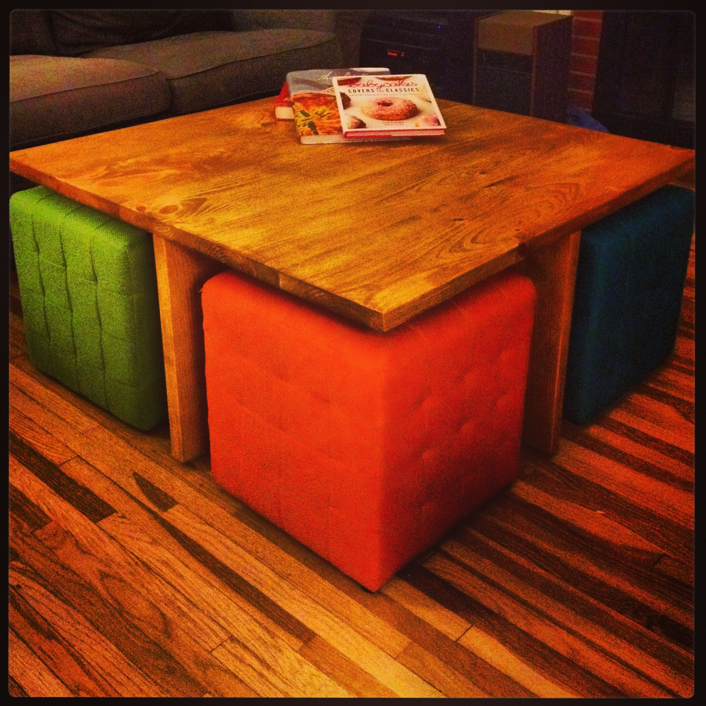 Coffee Table Ottomans Underneath Diy Square Coffee Table With 4 Removable Ottomans