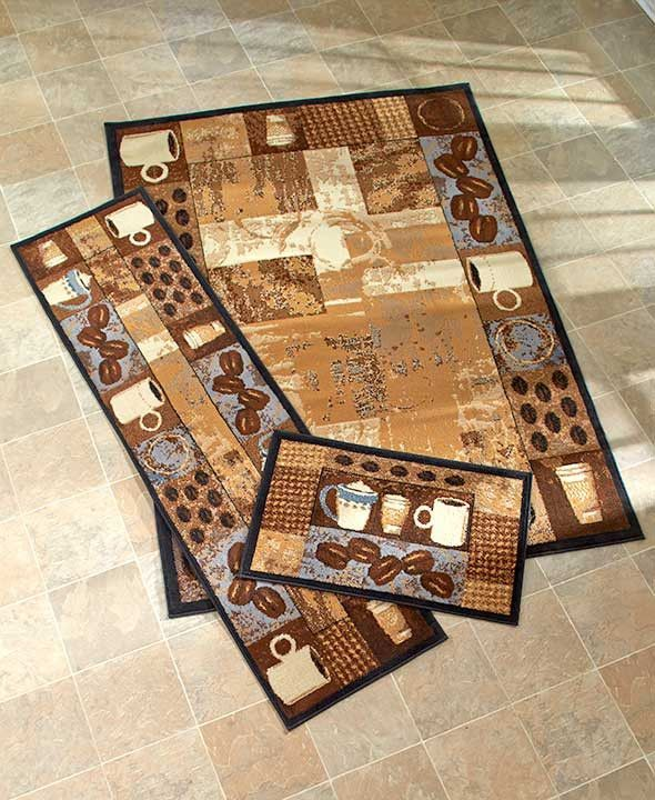 Coffee Themed Kitchen Rugs Accent Runner Area Stain