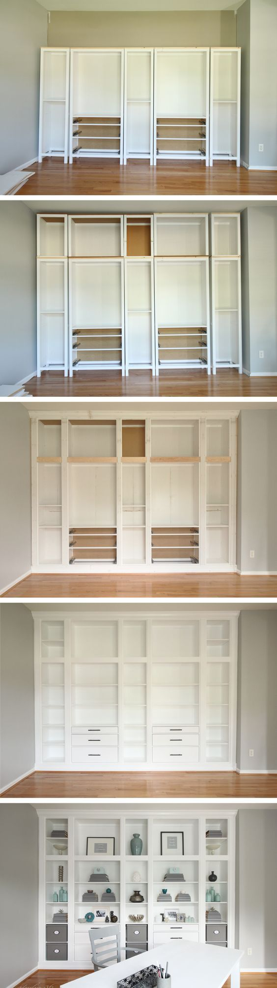 Diy Built In Bookcases Made With Ikea Hemnes Furniture