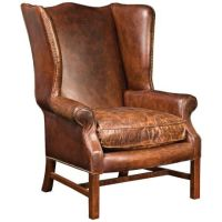 Carnegie Hawthorne Cigar Top Grain Leather Wingback Chair ...