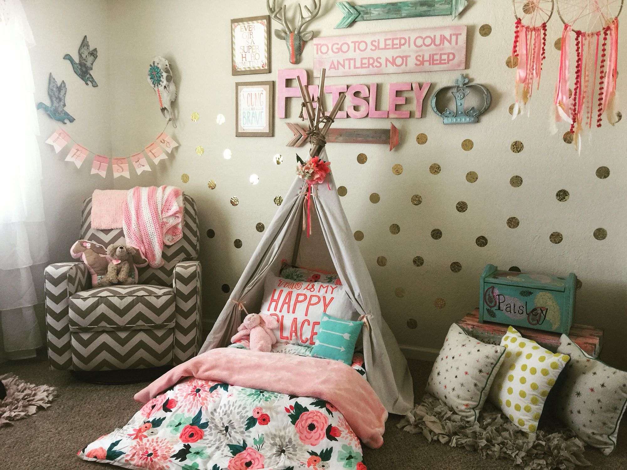Wild and free toddler room tee pee montessori bed on the floor
